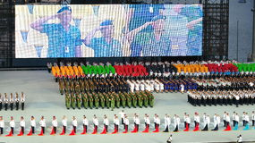 Uniformed groups standing at attention at NDP 2011 Stock Image