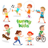 Uniformed happy kids playing sports. Active children vector characters Royalty Free Stock Photos