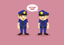 Uniformed Police Officers as Crime Fighters. Vector illustration of cartoon policeman saying let's fight crime to policewoman Royalty Free Stock Photography