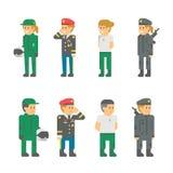 Uniformes planos del soldado del diseño Fotografía de archivo