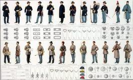Uniformes y divisas de la unión y del confederato fotos de archivo
