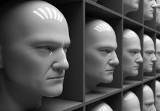 Uniformity. Many of the same people's heads in boxes. Uniformity, humanity, solitude stock illustration