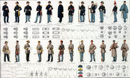 Uniforms and badges of Union and Confederate Stock Photos