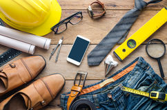 Uniforms and equipment of the engineers working - concept for men. Royalty Free Stock Image