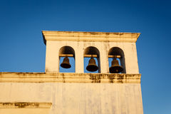 Unigue horizontal bell tower with 3 bells on church  on San Francisco church in Granda Nicaragua. Stock Photo