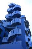 unik blå spiral trappa Arkivbilder