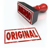 Unik idérik originalitet för original- innovation för ordstämpel första Royaltyfri Fotografi
