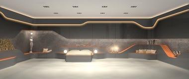 Unik lyxig futuristisk modern inredesign av sovrummet Arkivbild