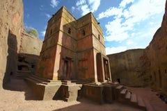 Unik monolitisk vagga-huggen ut kyrka av St George, UNESCOvärldsarv, Lalibela, Etiopien royaltyfri bild