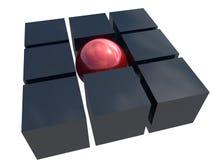 unik röd sphere för metall Arkivbilder