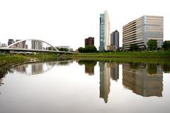 Unik sikt av en del av Columbus Ohio Skyline Fotografering för Bildbyråer