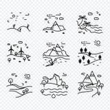Unik tunn linje natur för ecovektorsymboler Royaltyfri Fotografi
