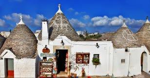Unika Alberobello, Italien Arkivfoto