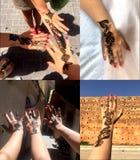 Unika hennamodeller på händerna av unga flickor morocco royaltyfri foto