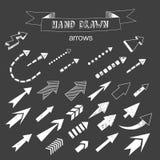 Unikalna kolekcja ręki rysować strzała Fotografia Stock