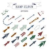 Unikalna kolekcja ręki rysować strzała Zdjęcia Royalty Free