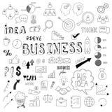 Unikalna kolekcja ręki rysujący biznesów doodles Zdjęcia Stock