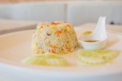 Unikalna stylowa Tajlandzka garnela smażący ryż serw Zdjęcie Stock