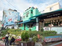 Unikalna sztuka buiding przy Gamcheon kultury wioską Zdjęcie Stock