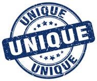 Unikalnego błękitnego grunge rocznika round znaczek Obraz Stock