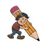 Unikalny śmieszny kreskówki chłopiec writing Obrazy Royalty Free