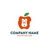 Unikalny Apple małpy negatywu przestrzeni logo Zdjęcia Stock