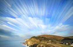 Unikalny czasu upływu sterty wschodu słońca krajobraz Fotografia Royalty Free