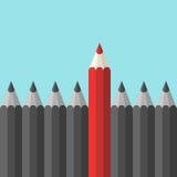 Unikalny czerwony ołówek ilustracja wektor