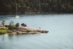 Unikalny dopłynięcie punkt w archipelagach Stockholm zdjęcie royalty free
