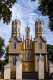 Unikalny drewniany neogotyki kościół, Nemajunai, Lithuania Obrazy Stock