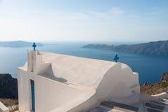 Unikalny dzwonkowy wierza na Santorini wyspie, Grecja Obraz Stock