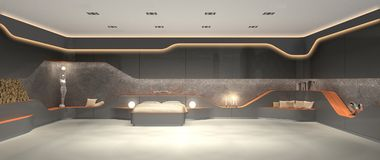 Unikalny luksusowy futurystyczny nowożytny wewnętrzny projekt sypialnia Fotografia Stock