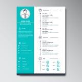 Unikalny Płaski koloru program nauczania - vitae projekta szablon Fotografia Stock