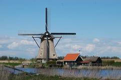 Unikalny panoramiczny widok na wiatraczkach w Kinderdijk, Holandia Obrazy Royalty Free