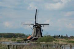 Unikalny panoramiczny widok na wiatraczkach w Kinderdijk, Holandia Fotografia Royalty Free