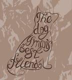 Unikalny, pociągany ręcznie pies przylepiający etykietkę pies, jest mężczyzna najlepszym przyjacielem Obraz Royalty Free