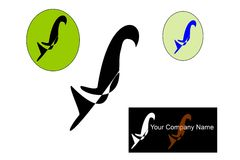Unikalny ptasi logo z białym tłem Zdjęcia Royalty Free