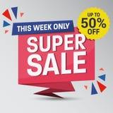 Unikalny Super sprzedaż sztandar royalty ilustracja