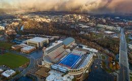 Unikalny widok z lotu ptaka Boise stanu uniwersytet z Boise linią horyzontu Fotografia Royalty Free