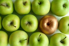 Unikt guld- äpple royaltyfri bild