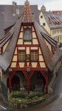 Unikt halvt timmerhus av rothenburg royaltyfria bilder