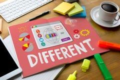 Unikt olikt vara det olika begreppet, gör en skillnad, j Arkivbild
