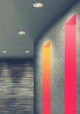 Unikt rum genom att använda färgrika ledde ljus Arkivbild
