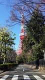 Unikt Tokyo torn med gröna träd Arkivbild