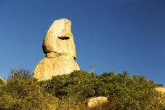 Unikt vagga bildande som profilen för den mänskliga framsidan, Poway, San Diego County Inland Arkivfoto