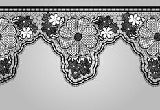 Unilateral Black seamless lace braid. Lacy background. Stock Images