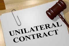 UNILATERAL CONTRACT concept. 3D illustration of UNILATERAL CONTRACT title on legal document Stock Image