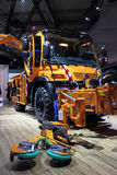 Unimog Road Cleaning Truck. HANNOVER - SEP 20: New Mercedes Benz Unimog Road Cleaning Truck at the International Motor Show for Commercial Vehicles on September stock photography