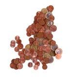 Unión europea como mapa de monedas euro Fotos de archivo