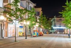 Uninhabited center of night Pomorie in Bulgaria royalty free stock image